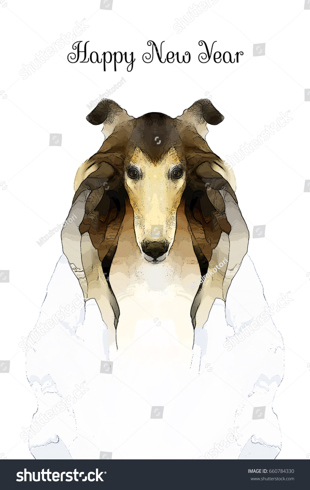dog portrait for new year card rough collie