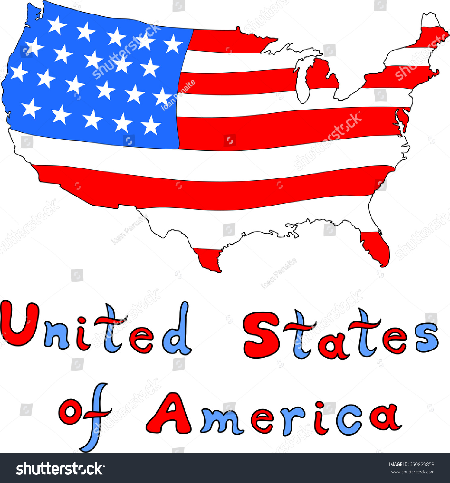 United States America Sketch Map Isolated Stock Vector - Sketch drawing us with states map