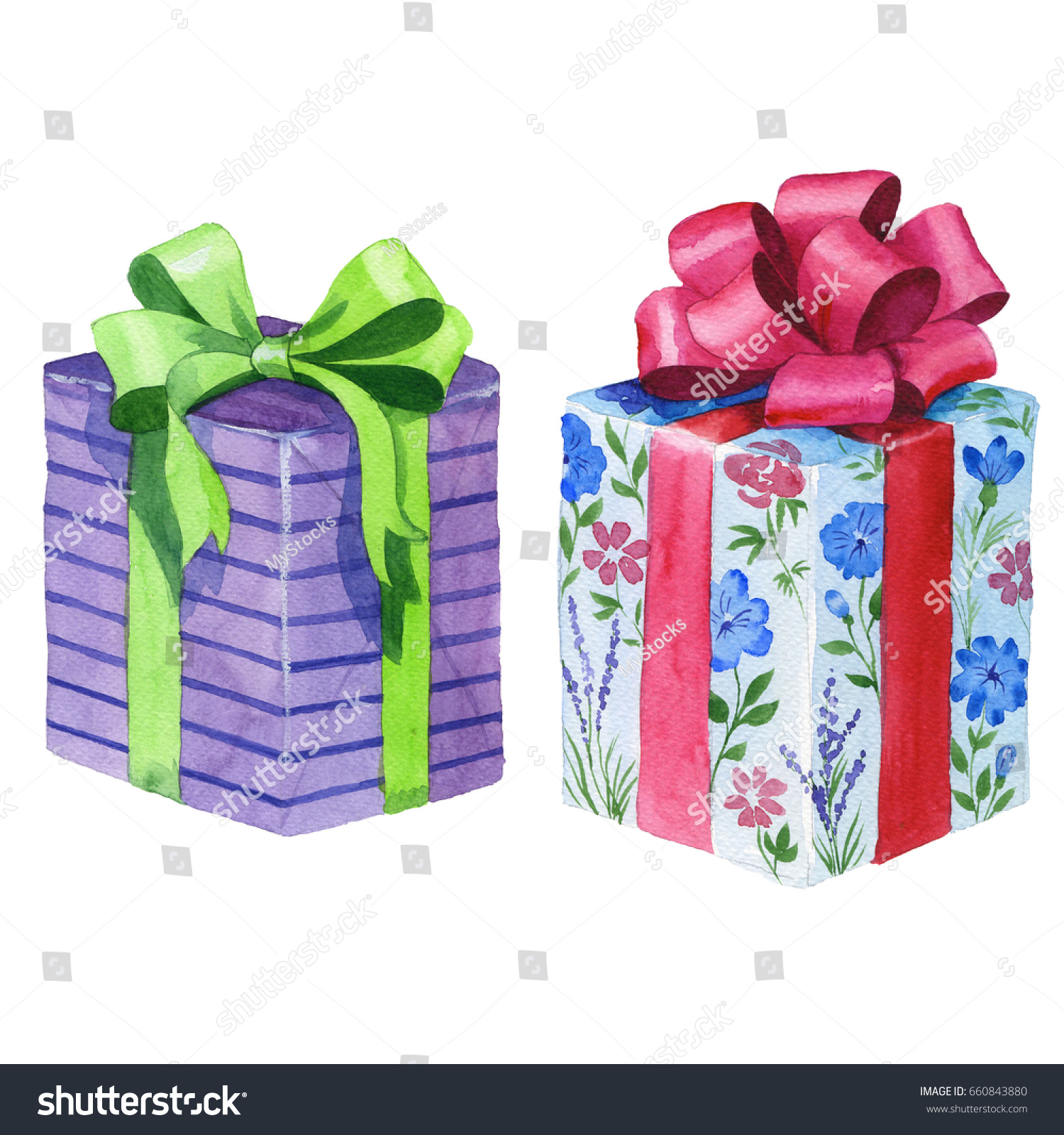 Watercolor birthday gift box illustration wrapped watercolor birthday gift box illustration wrapped 660843880 shutterstock negle Images