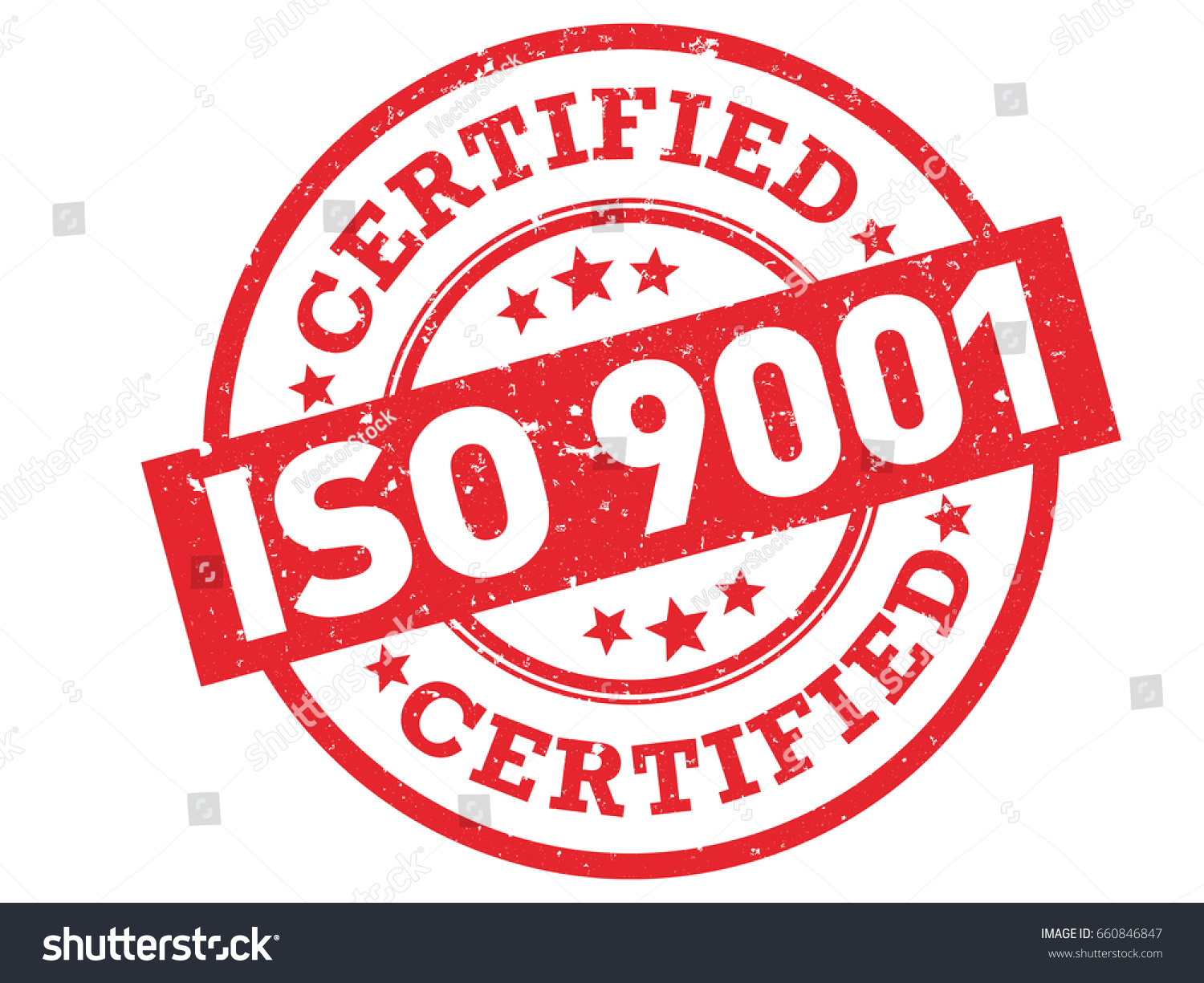 ISO 9001 Certified Red Rubber Stamp Vector Grunge Certification With Text