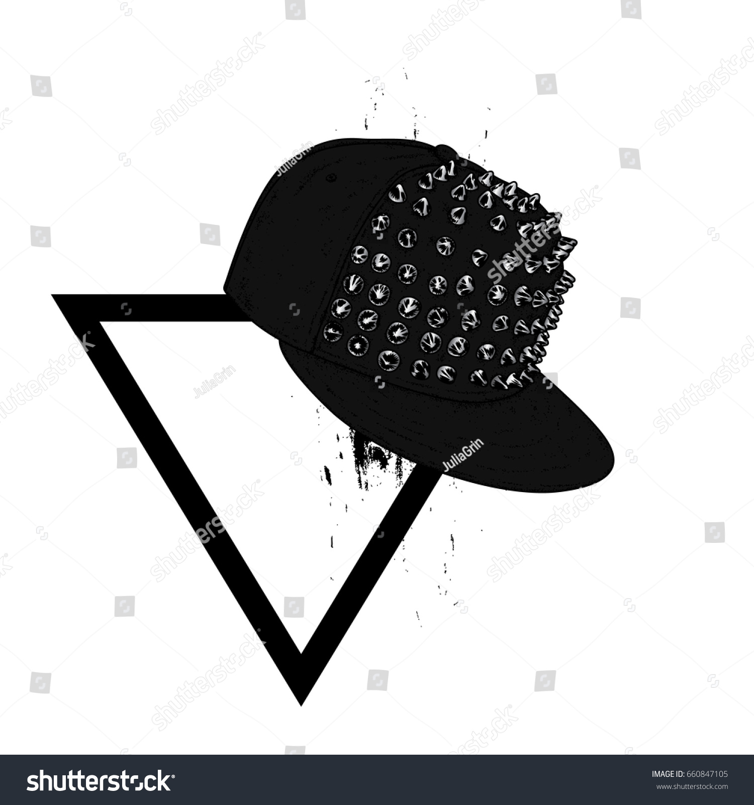 Stylish Cap Spikes On Triangle Fashion Stock Vector Royalty Free