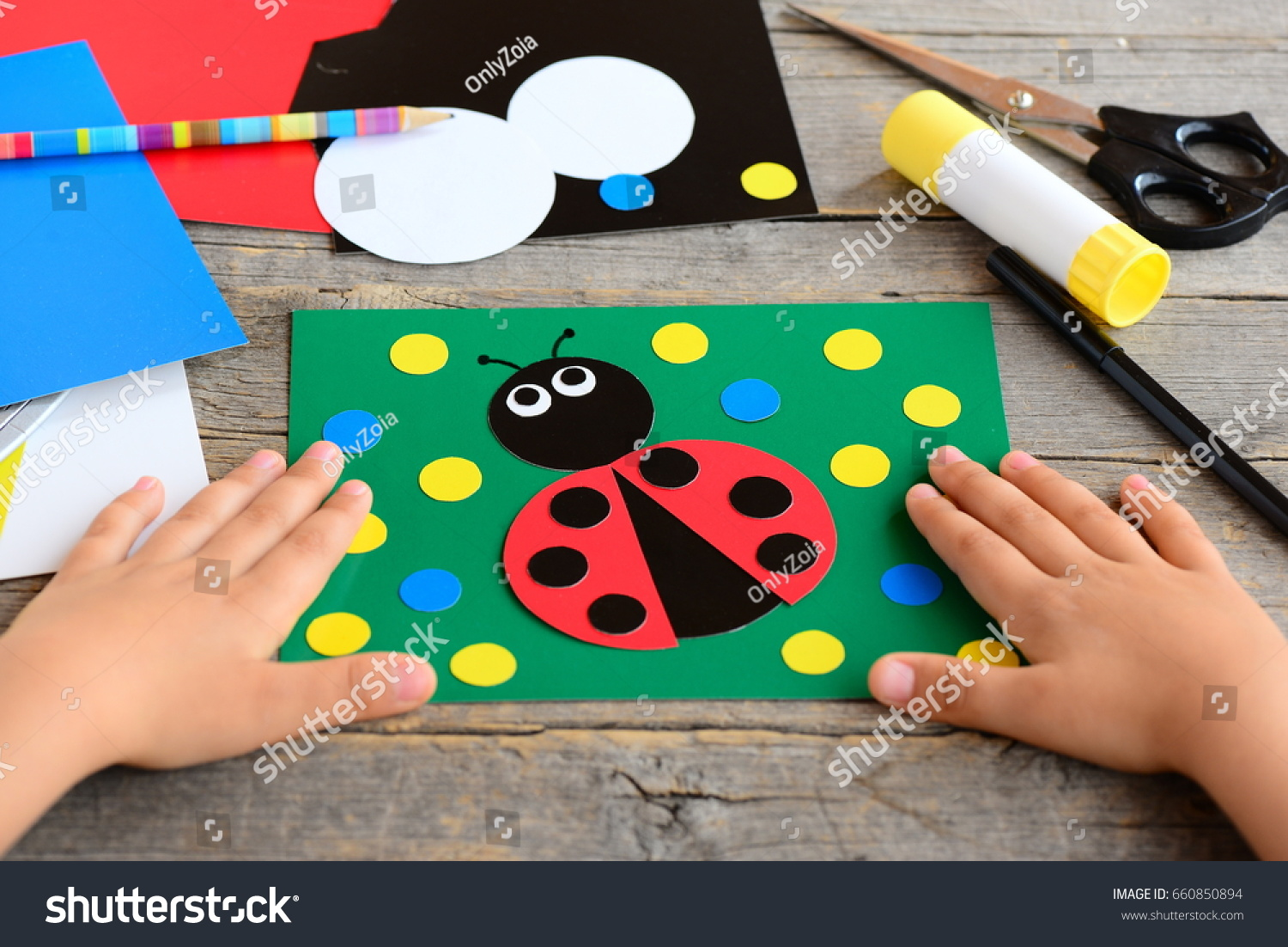 child made ladybird colored paper summer stock photo edit now