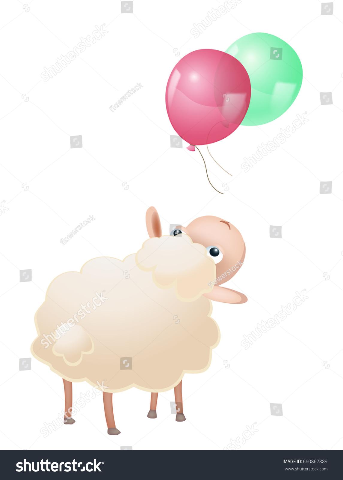 cartoon sheep balloons on white stock vector 660867889 shutterstock