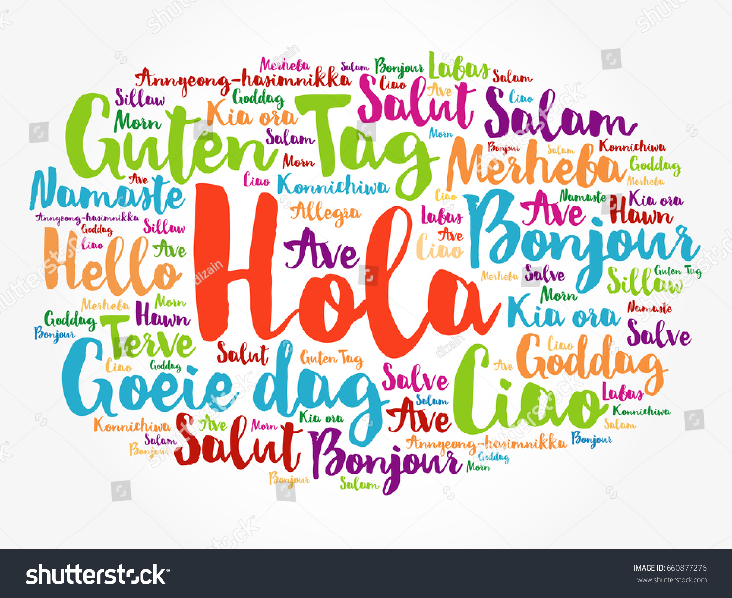 Hola hello greeting spanish word cloud stock vector 660877276 hola hello greeting in spanish word cloud in different languages of the world kristyandbryce Image collections
