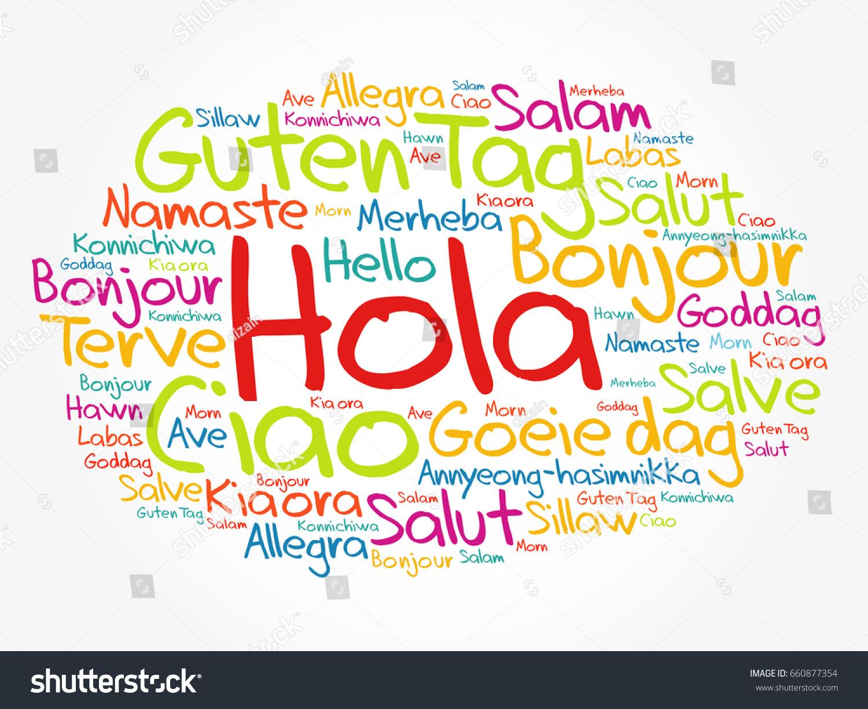 Hola Hello Greeting Spanish Word Cloud Stock Vector Royalty Free