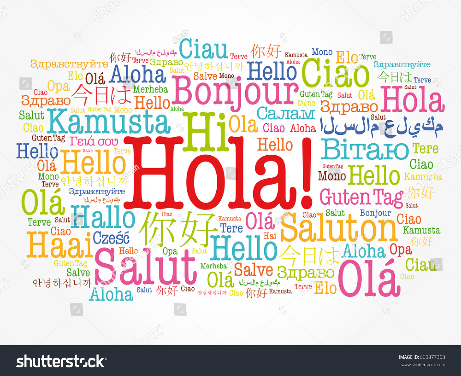 Hola hello greeting spanish word cloud stock vector 660877363 hola hello greeting in spanish word cloud in different languages of the world m4hsunfo
