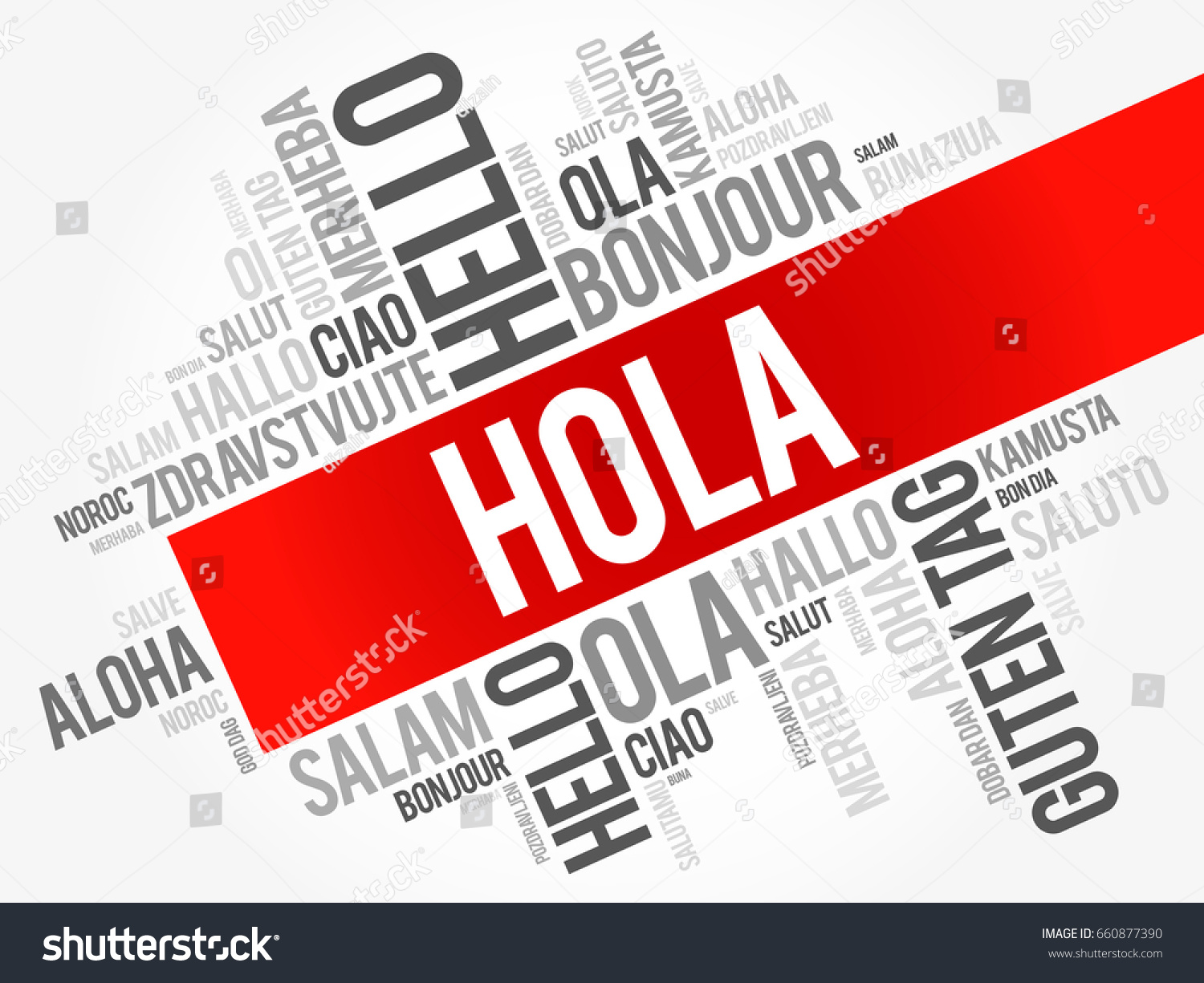 Hola Hello Greeting Spanish Word Cloud Stock Vector Royalty Free
