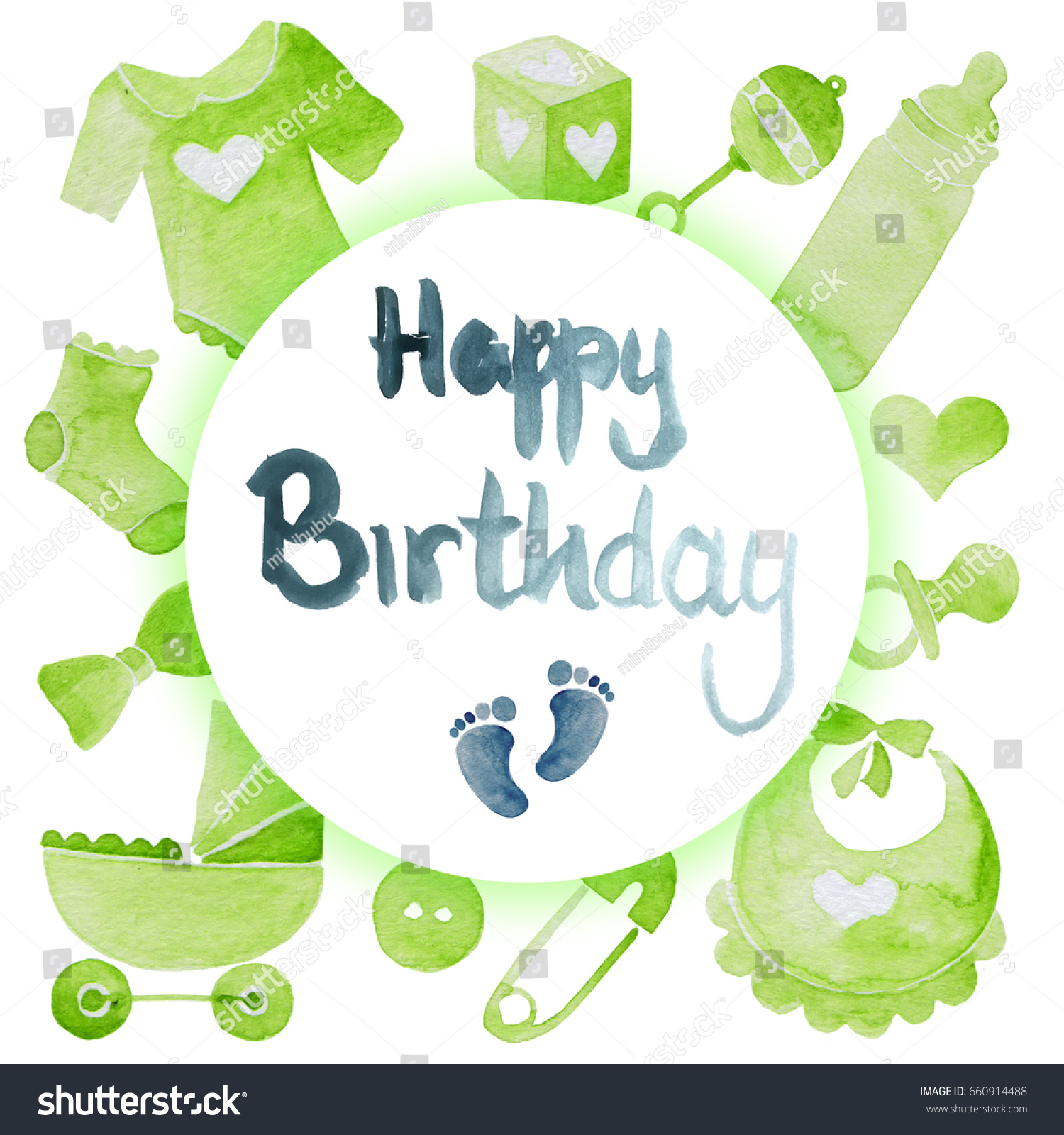 Watercolor Illustration Green Baby Boy Birthday Stock Illustration ...