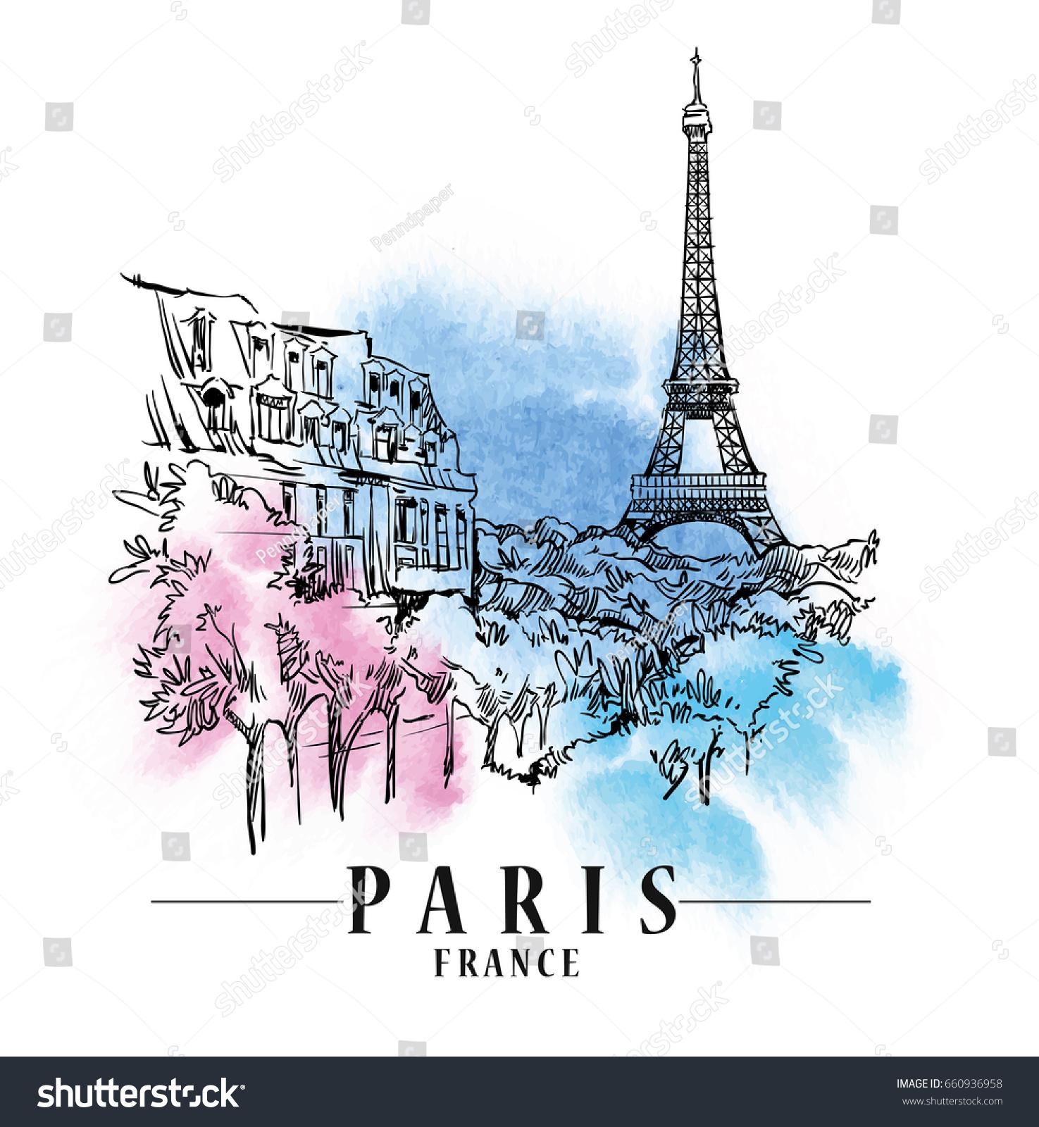 Paris Illustration: Paris Illustration Vector Artwork Watercolor Background