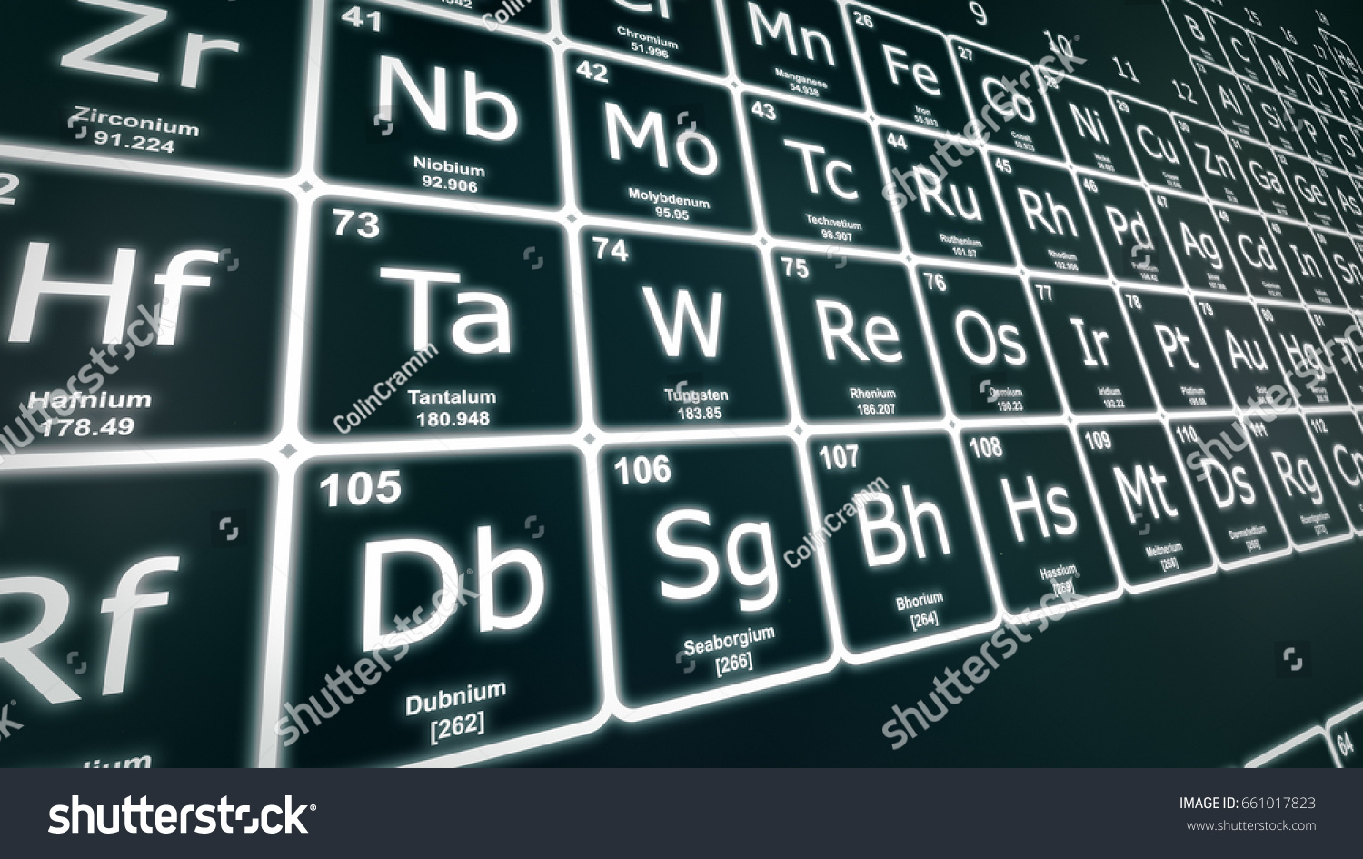 Perspective closeup periodic table elements white stock photo perspective closeup of the periodic table of the elements in white on a dark green background gamestrikefo Choice Image