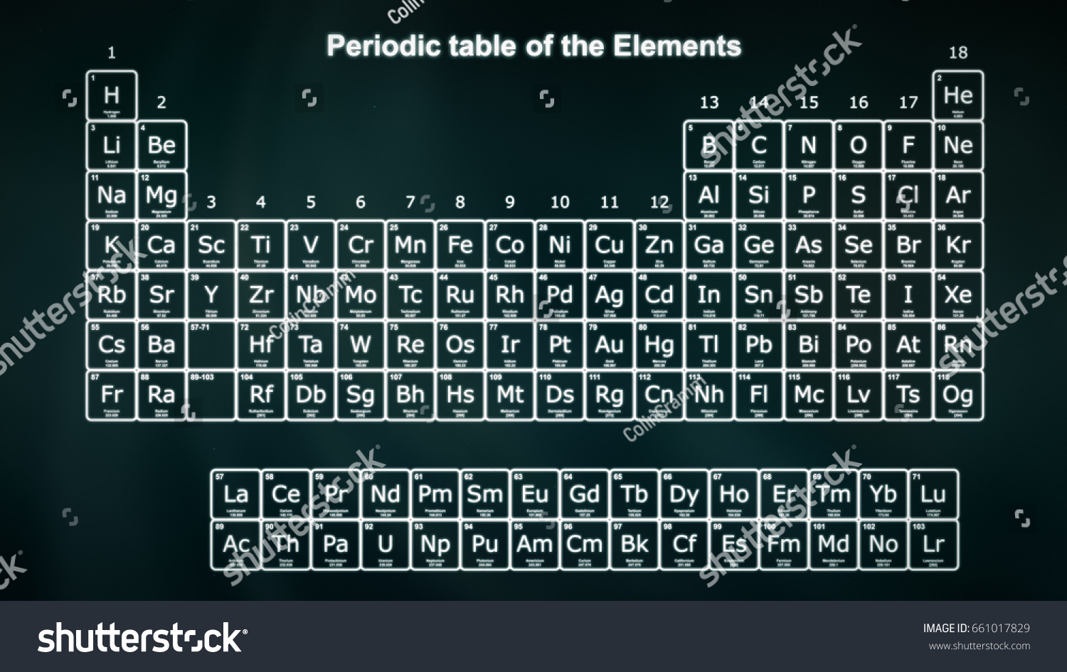 Complete periodic table elements white on stock photo 661017829 complete periodic table of the elements in white on a dark green background modern version gamestrikefo Gallery