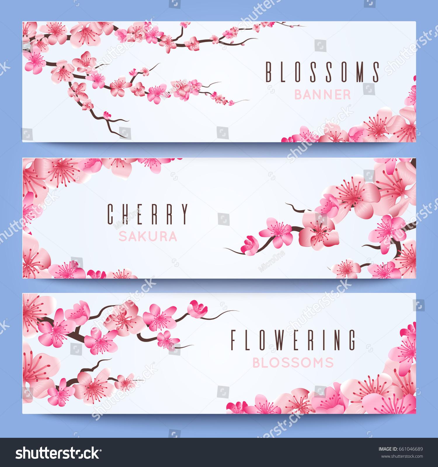 wedding banners template spring japan sakura stock illustration