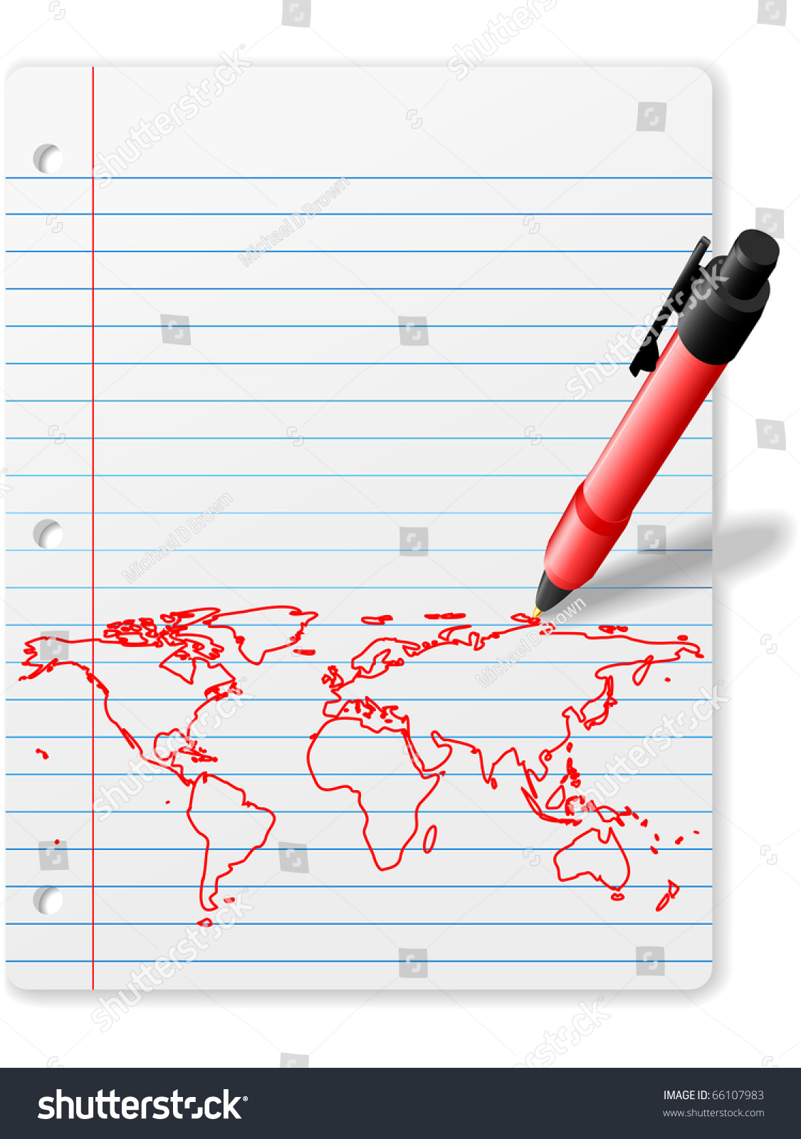 Pen drawing world map on notebook stock vector 66107983 shutterstock pen drawing a world map on notebook paper in red ink below copy space sciox Images