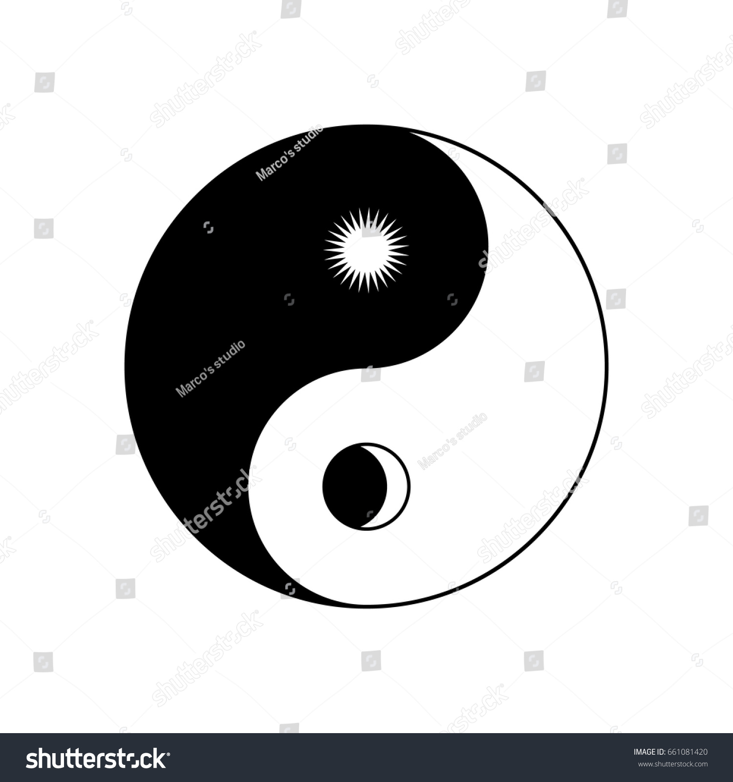 Yin yang symbol sun moon stock vector 661081420 shutterstock yin yang symbol with sun and moon biocorpaavc Images
