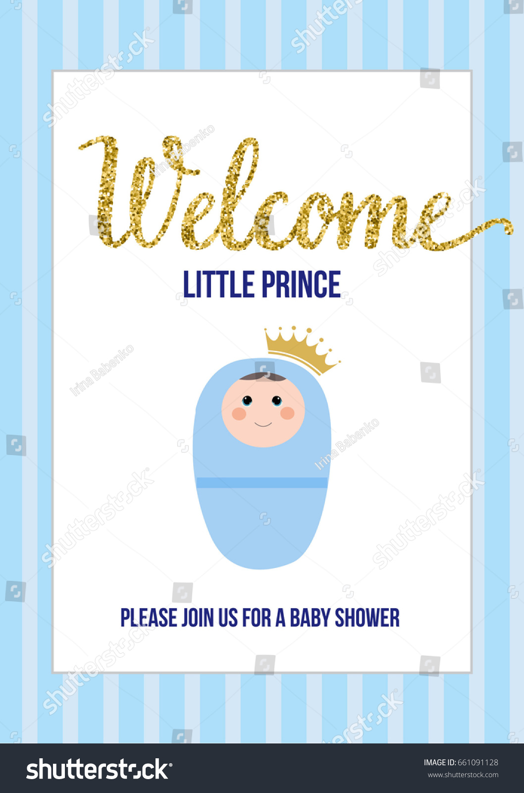 Welcome Little Prince Baby Shower Invitation Stock Vector 661091128 ...