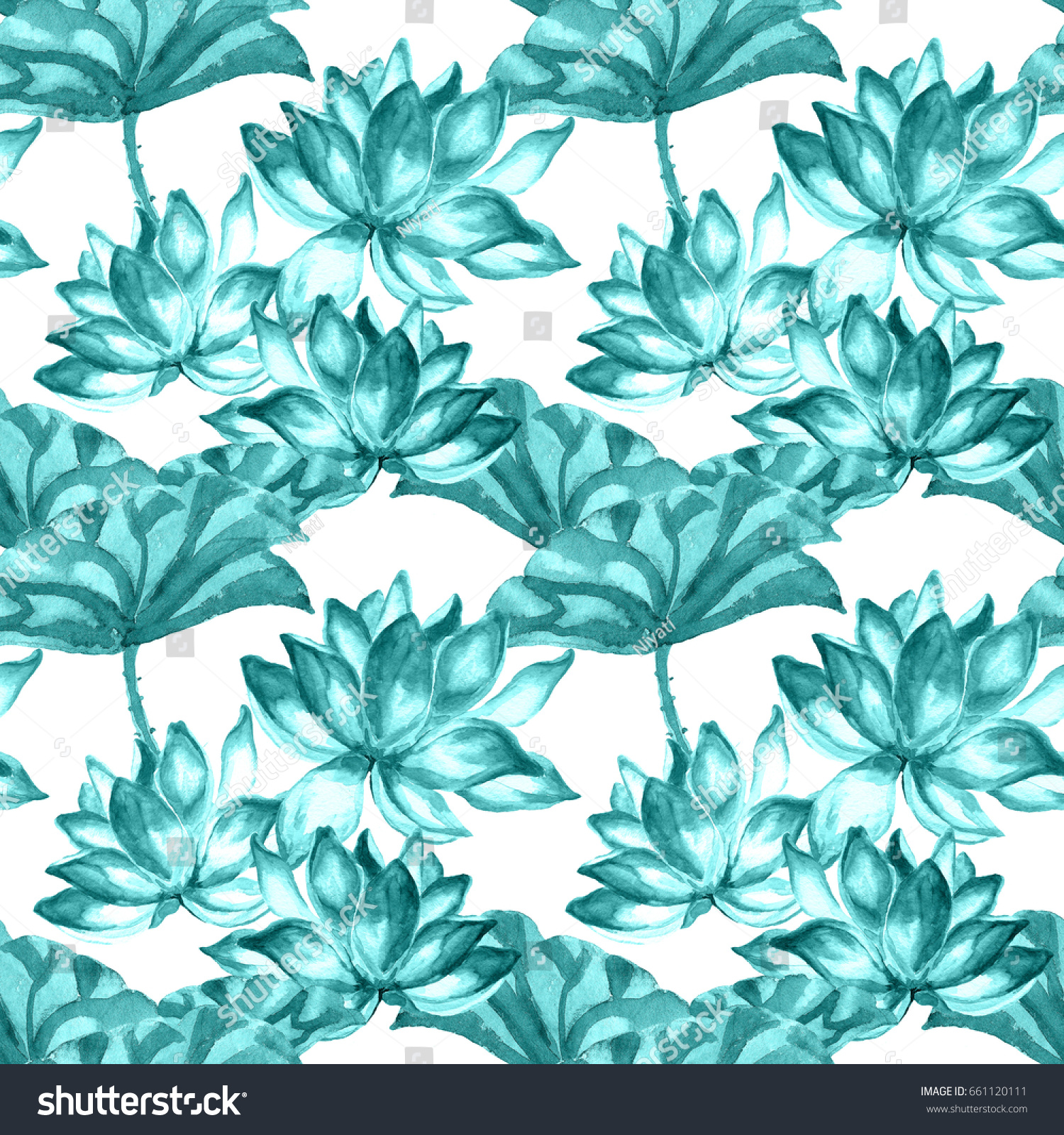 Watercolor Lotus Leaves And Flowerseen And Turquoise Tints On