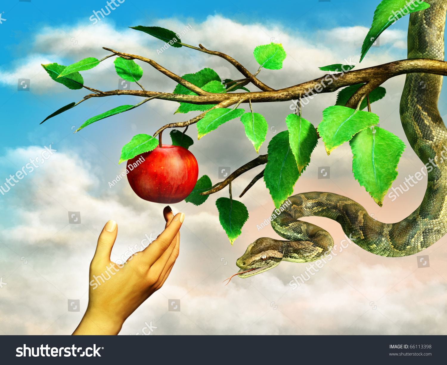 Eva 39 s hand reaching for the forbidden apple a snake is for Jardin 7 peches capitaux