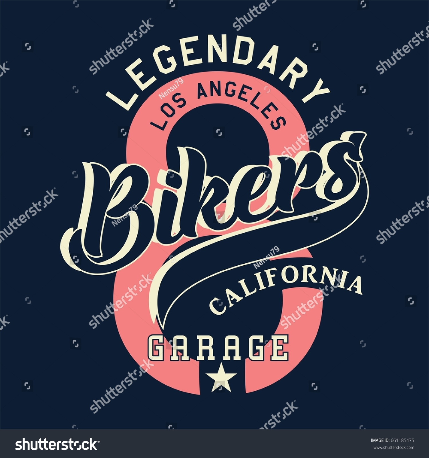 Design t shirts los angeles - Design Alphabet And Numbers Legendary Los Angeles Bikers California For T Shirts