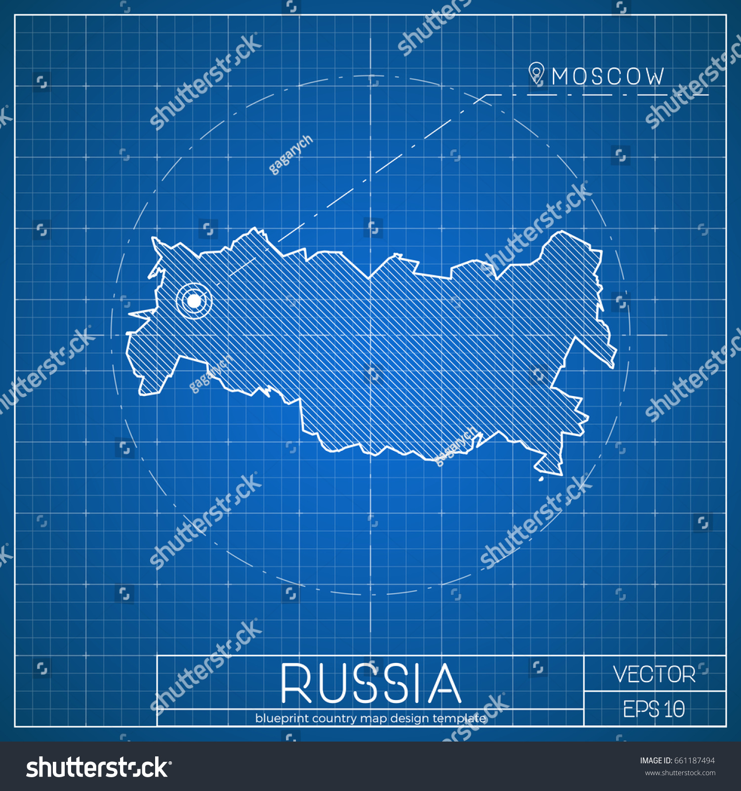 Russia blueprint map template capital city vectores en stock russia blueprint map template with capital city moscow marked on blueprint russian map vector malvernweather Image collections