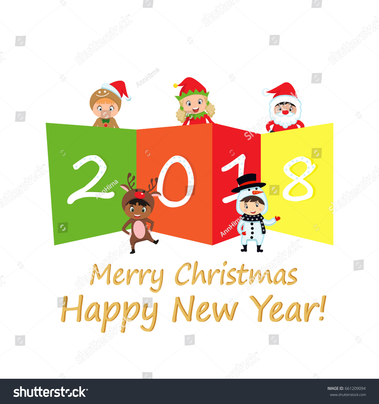 2018 happy new year greeting card stock vector 661209094