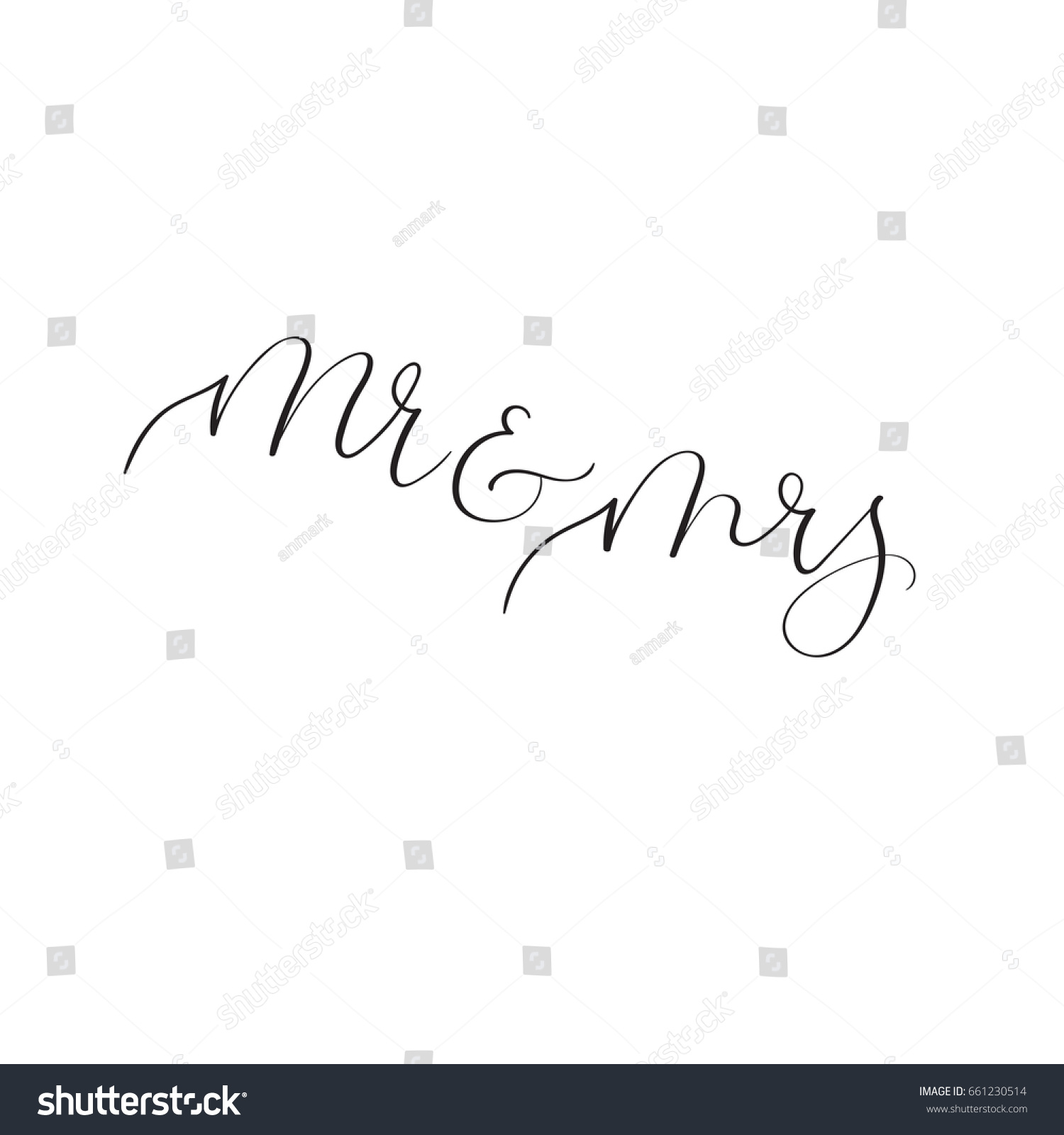 Mr Mrs Modern Calligraphy Wedding Invitation Stock Vector HD ...