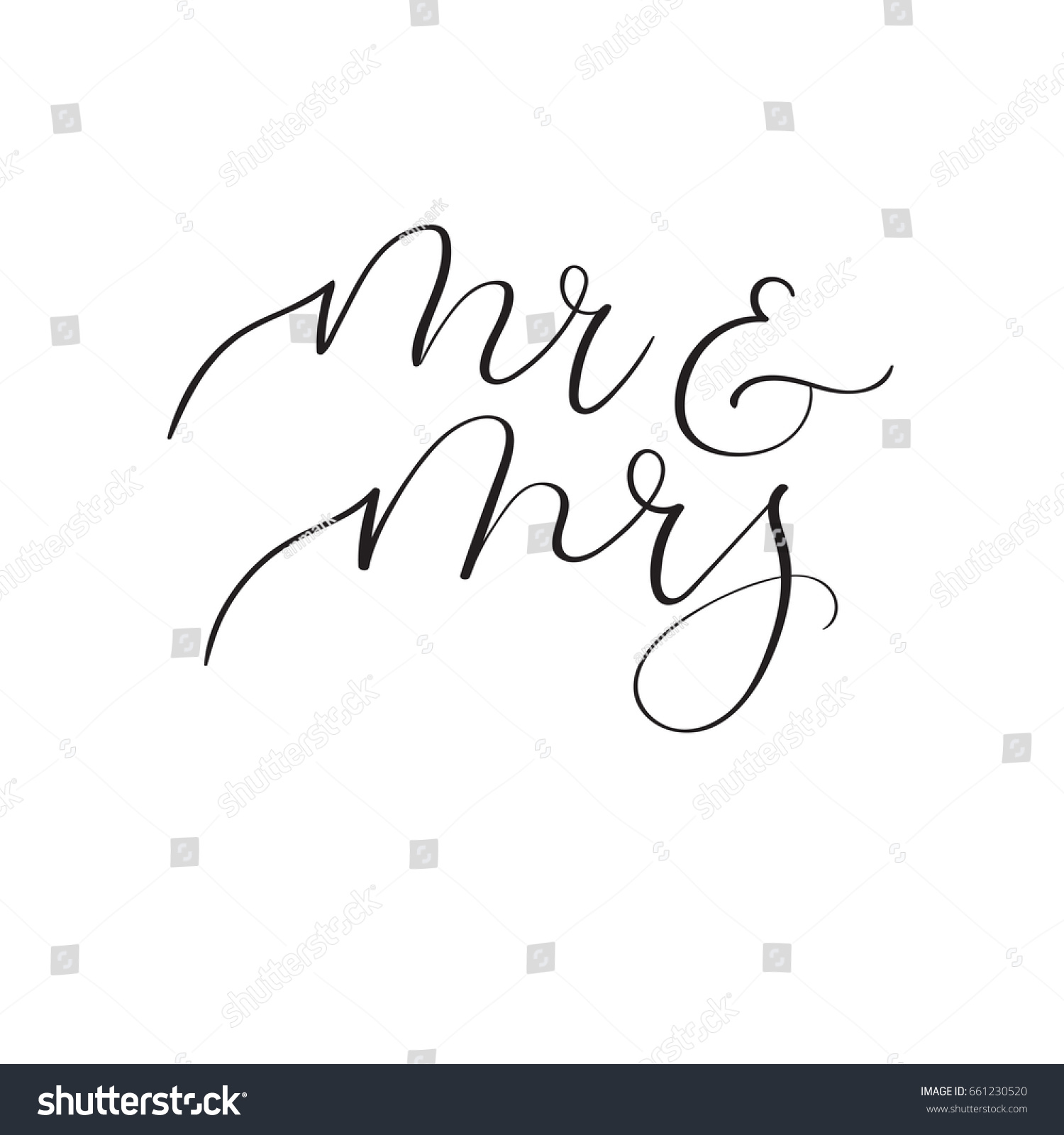 Mr Mrs Hand Lettering Wedding Design Stock Vector 661230520 ...