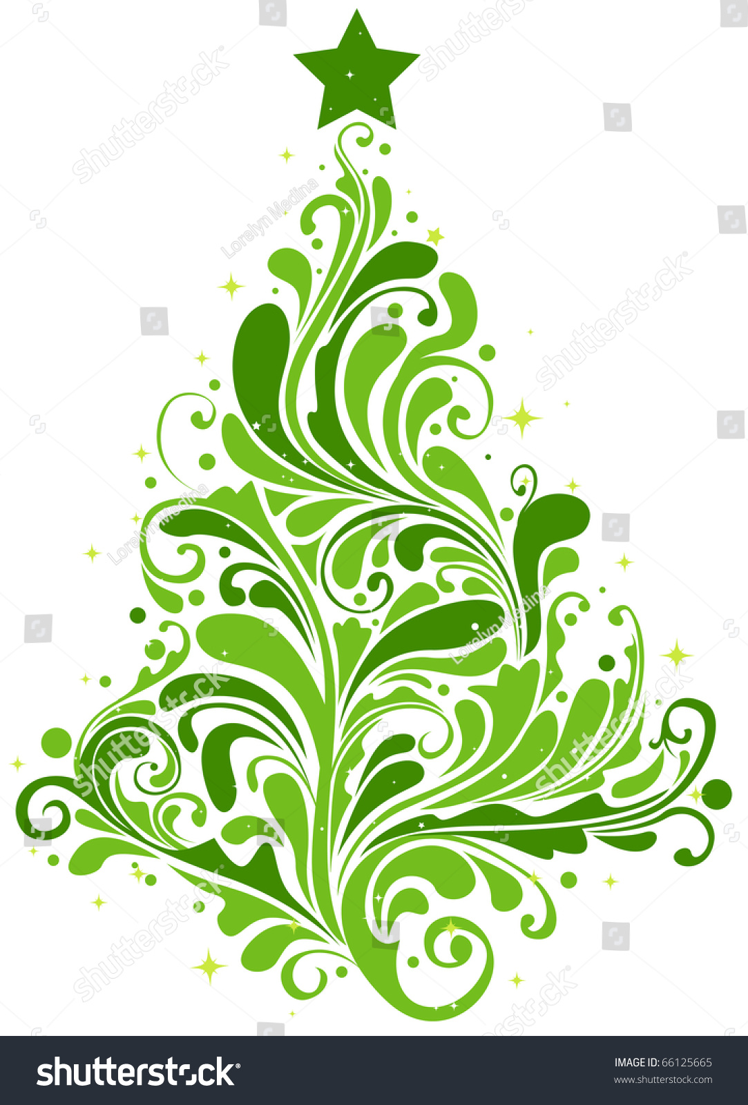 Christmas Tree Design Featuring Abstract Swirls Stock Vector ...