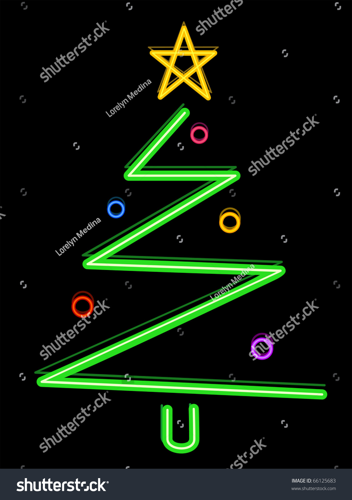 Christmas Tree Design Featuring Neon Lights Stock Vector 66125683  - Christmas Tree Shaped Lights