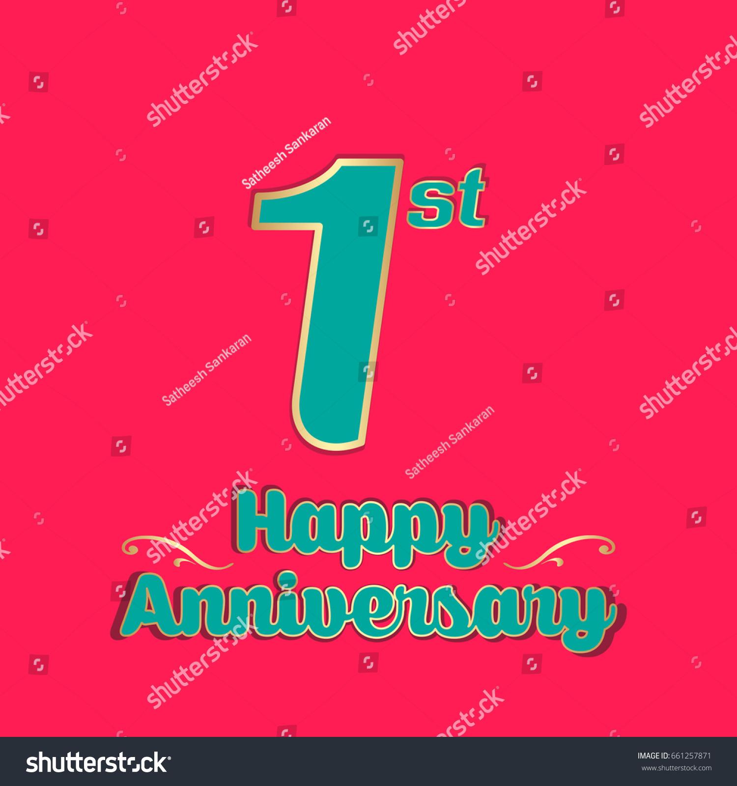 Happy Anniversary Greeting Card Vector Illustration Stock Vector