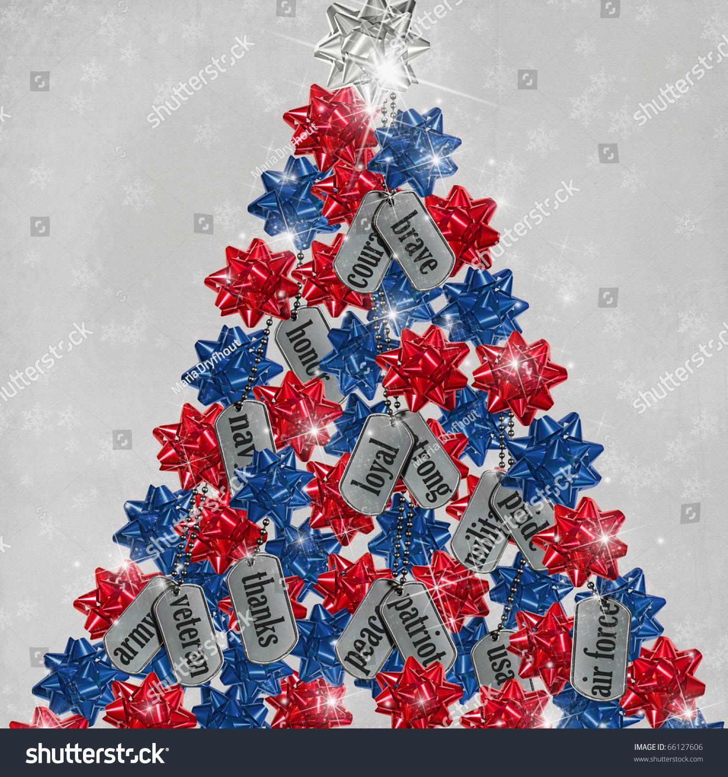 Patriotic Christmas Tree Military Dog Tags Stock Illustration ...