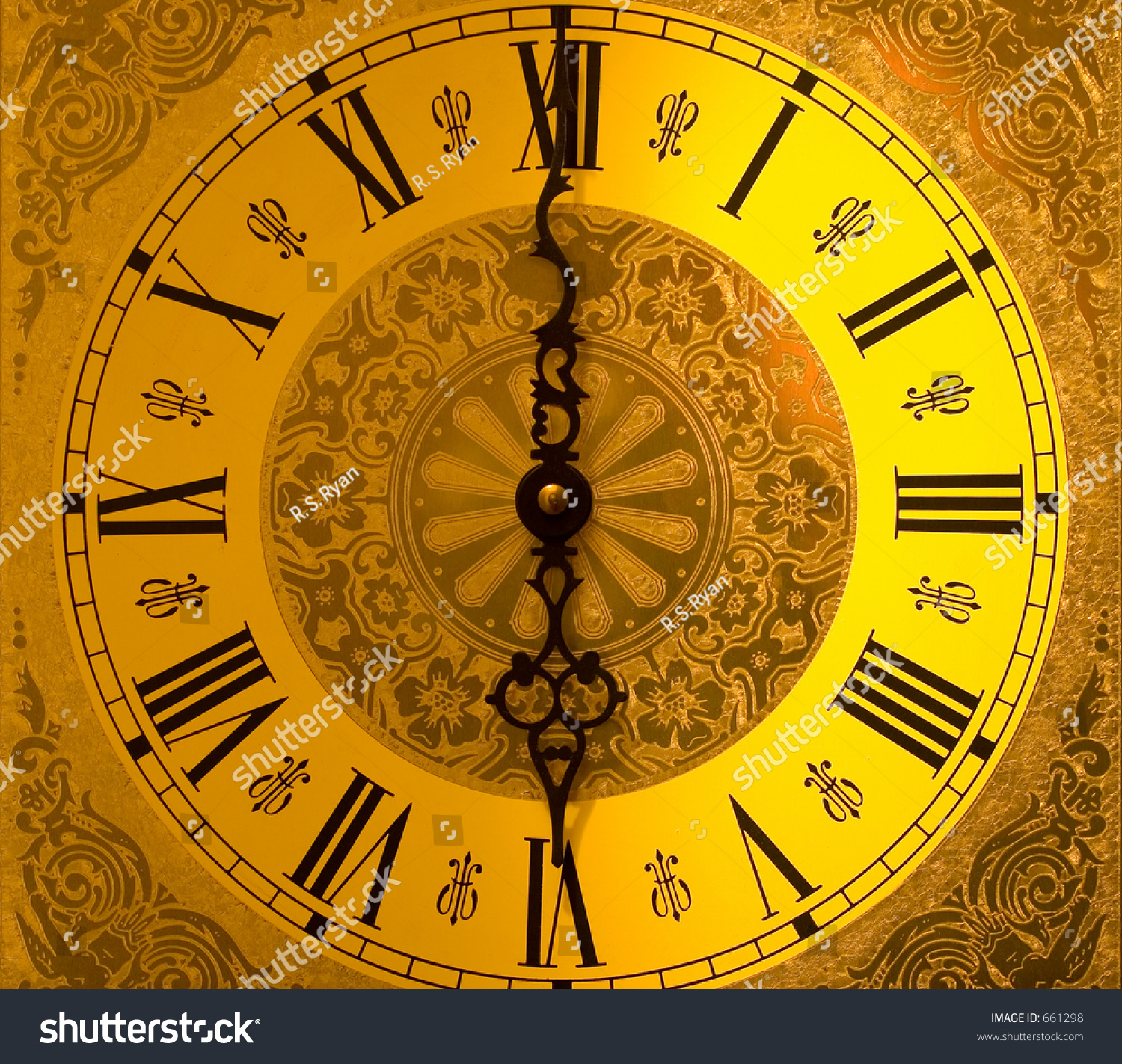 Antique Grandfather Clock Face Stock Photo 661298
