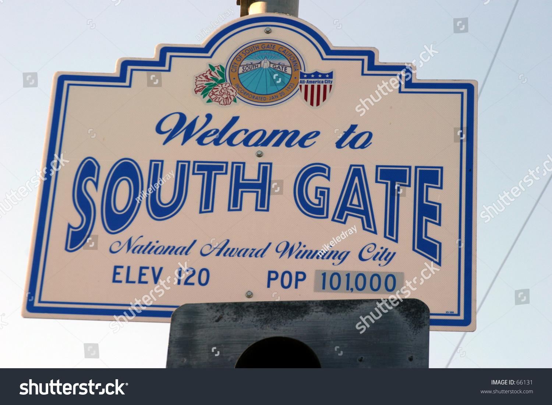 City Of South Gate >> City Population Sign City Southgate Stock Photo Edit Now 66131