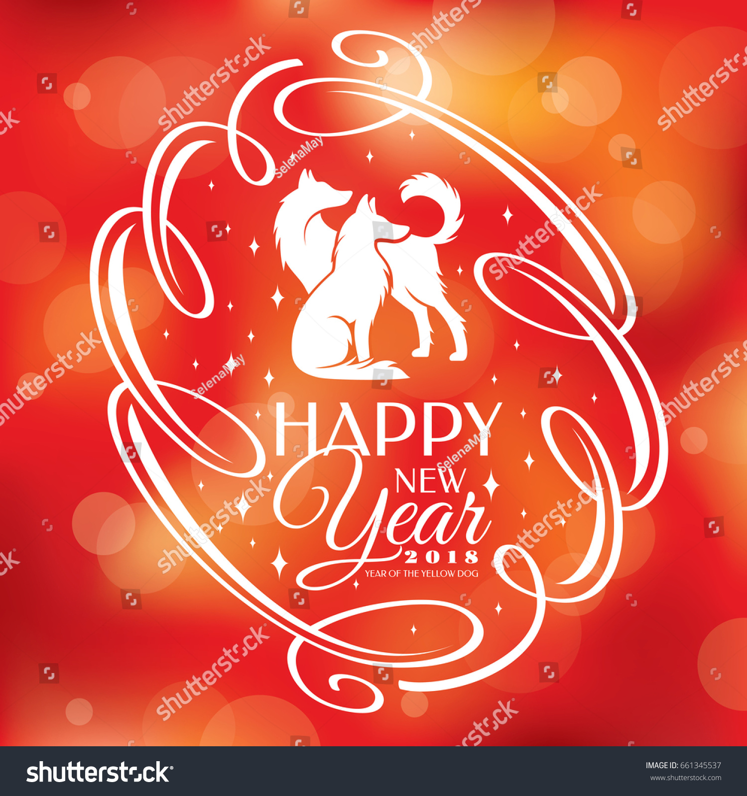 Chinese New Year Greeting Card 2018 Stock Vector Royalty Free