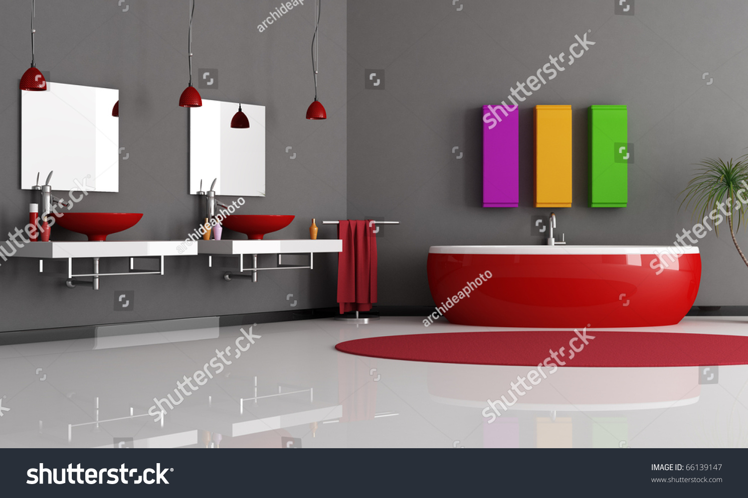 Modern Black And Red Bathroom With Sink And Bathtub Stock Photo - Red black bathroom