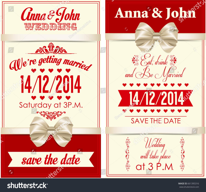 Wedding Invitation Gold Elements Bow Stock Illustration 661395316 ...