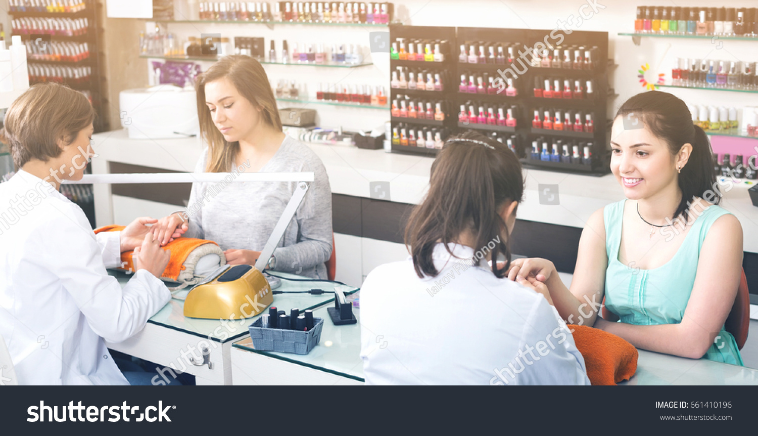 Happy European Women Getting Their Nails Stock Photo (Edit Now ...
