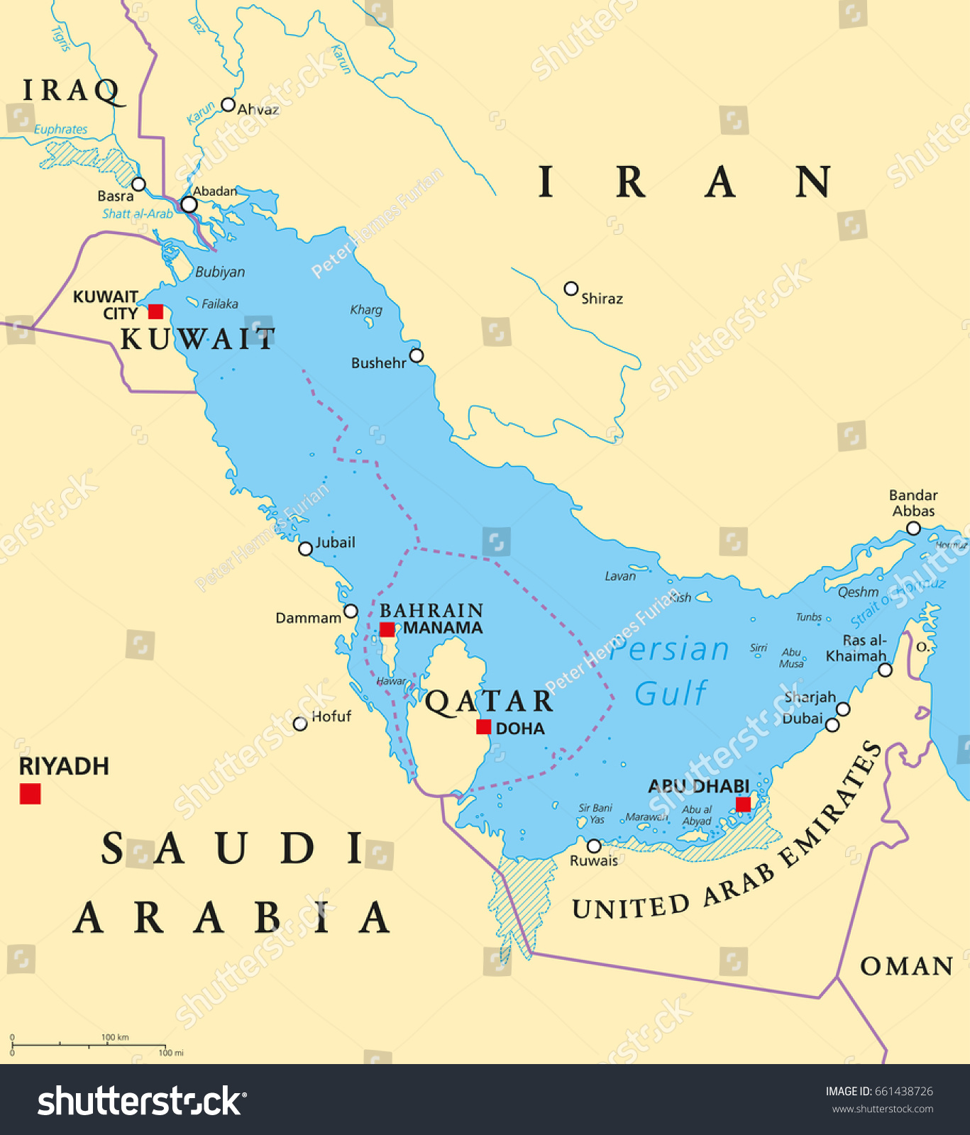 Persian gulf region countries political map stock photo photo persian gulf region countries political map capitals borders cities and rivers iran gumiabroncs Images