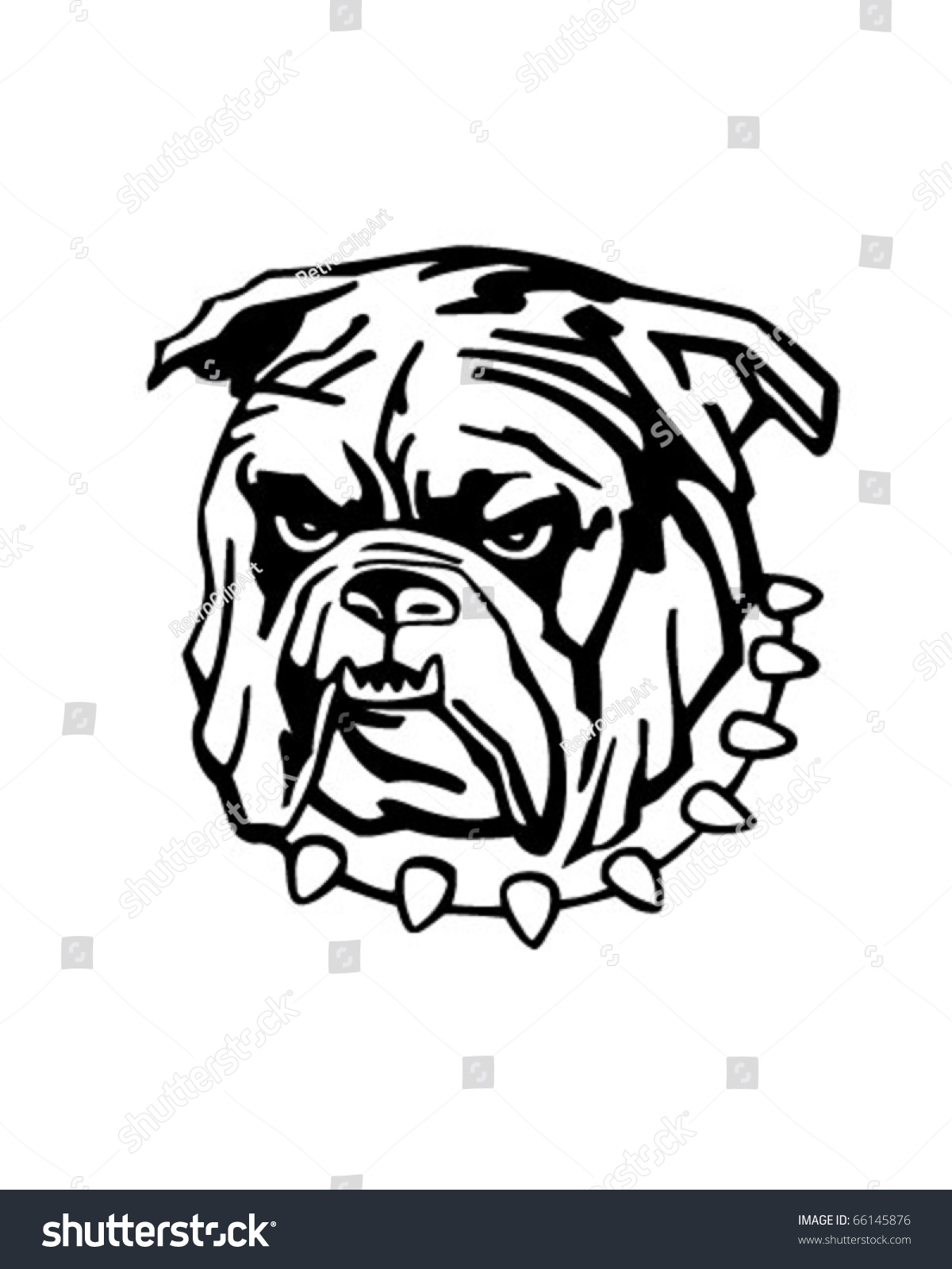 Mean Bulldog - Retro Clipart Illustration - 66145876 : Shutterstock