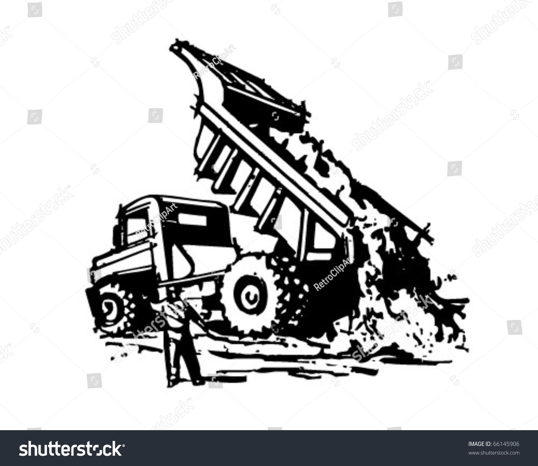 Dumptruck Unloading Retro Clipart Illustration Stock Vector ...