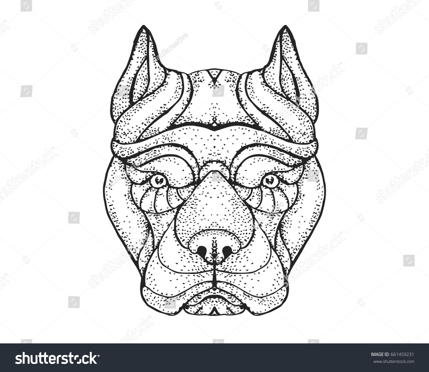 Detail Dotted Style Hand Drawing Dog Stock Vector (Royalty Free ...