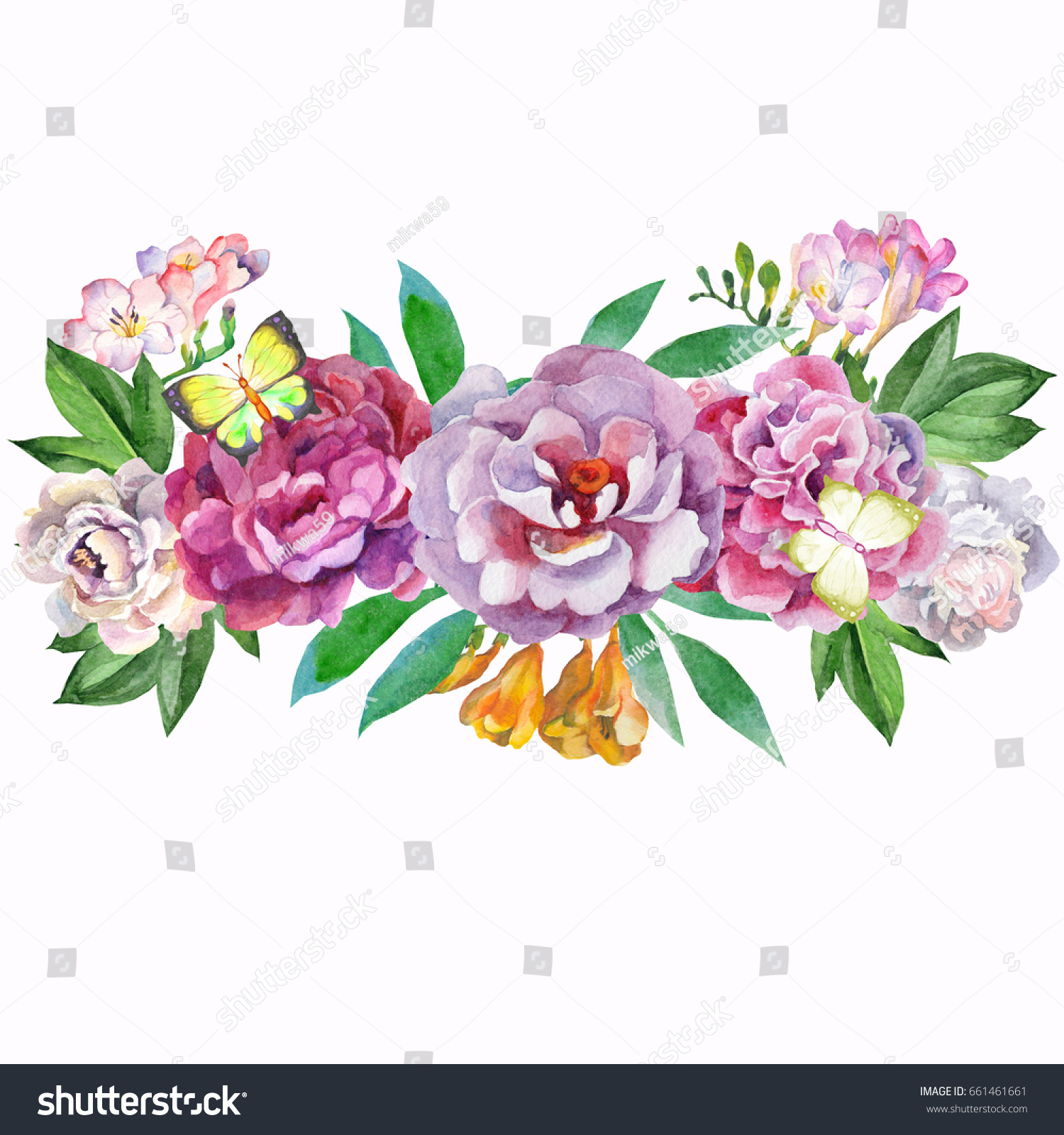 Bouquet of beautiful flowerswatercolor ez canvas id 661461661 izmirmasajfo