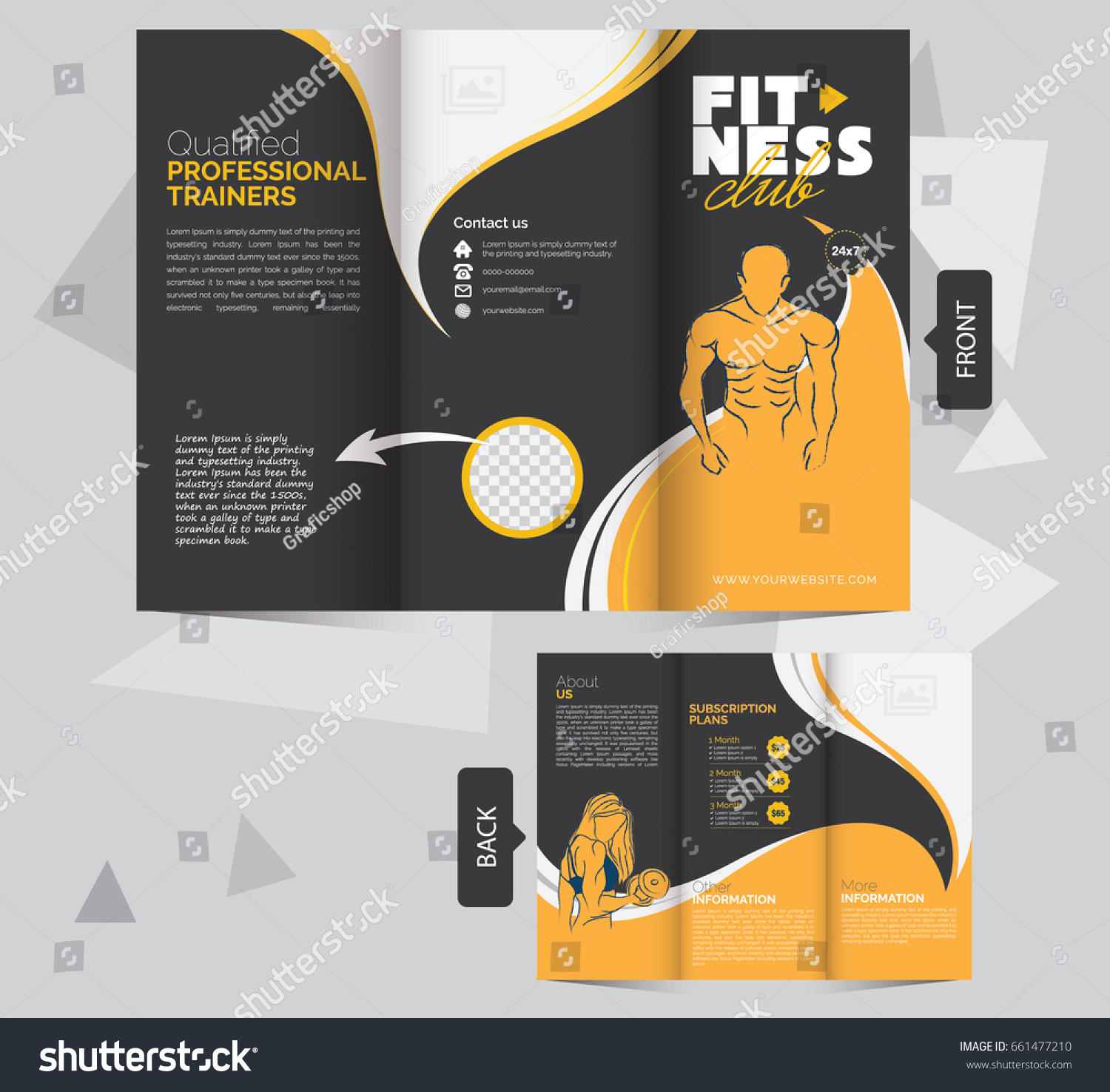 Trifold Fitness Brochure Design Template Fitness Stock Photo (Photo ...