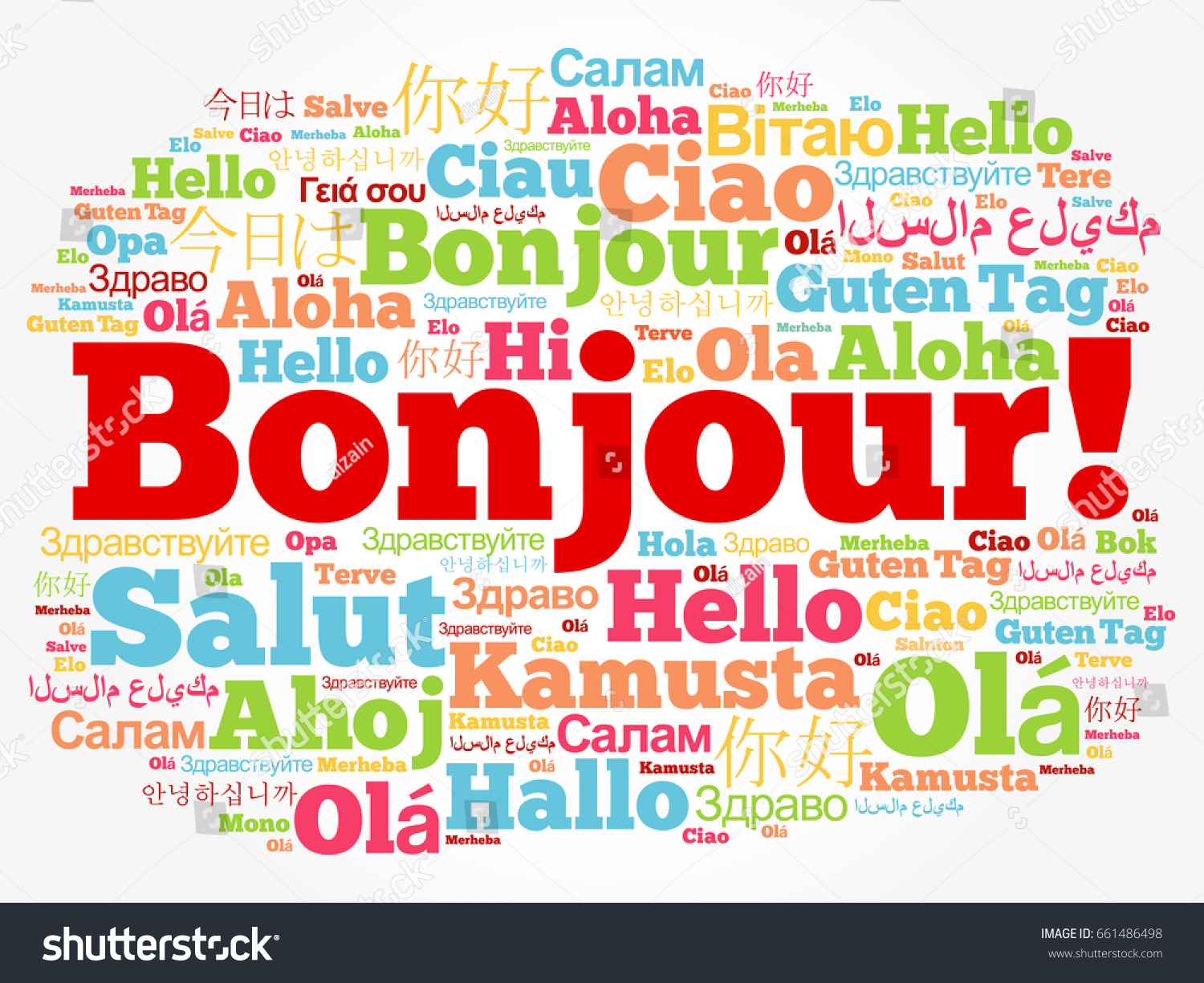 Bonjour Hello Greeting French Word Cloud Stock Vector Royalty Free