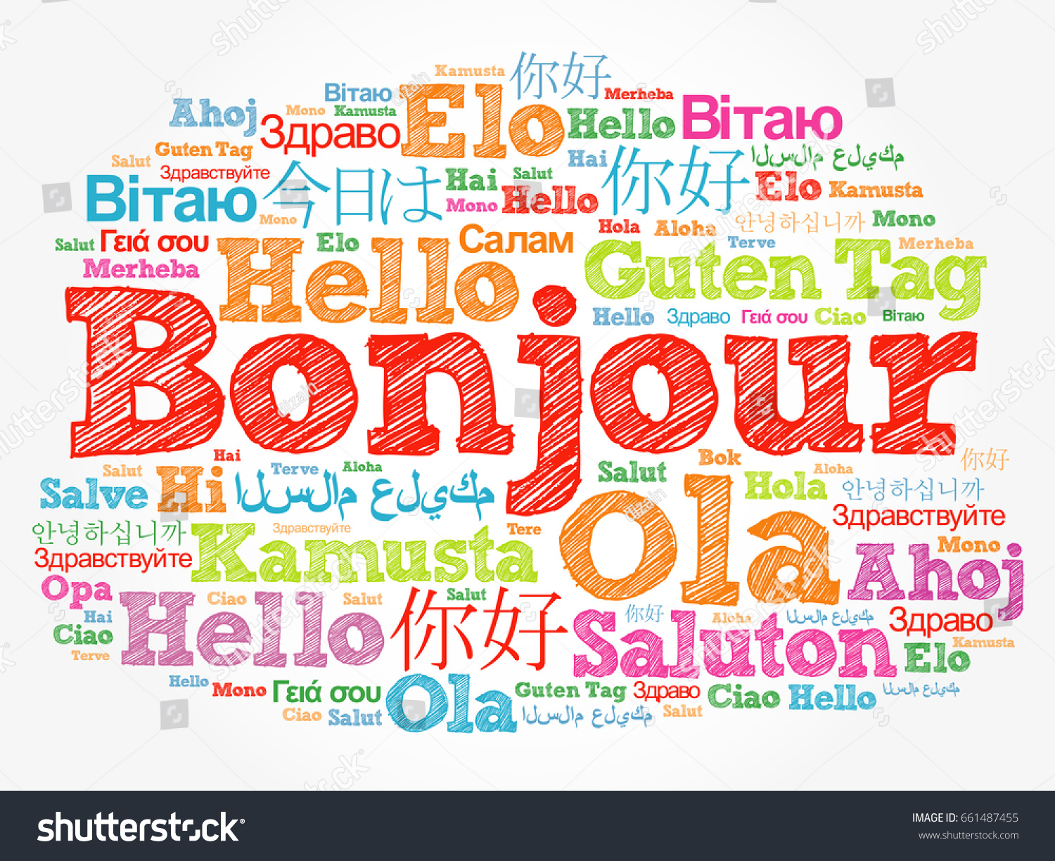 Bonjour hello greeting french word cloud stock illustration bonjour hello greeting in french word cloud in different languages of the world kristyandbryce Gallery