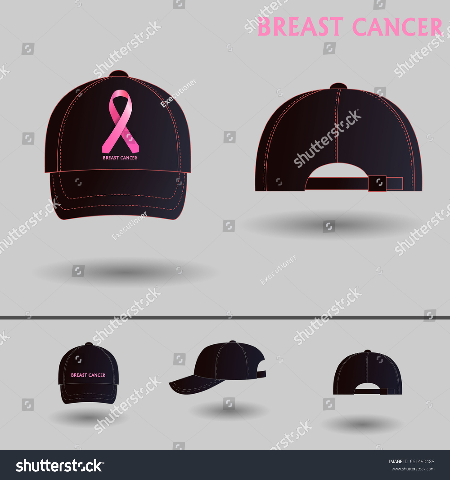 b950cb3bf7f48 caps with awareness ribbons. Ball cap breast cancer. Vector icons for  video