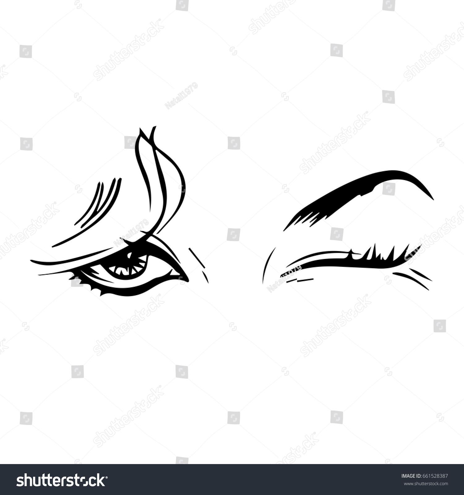 silhouette female eyes winked stock vector royalty free 661528387 rh shutterstock com Man Winking Clip Art Man Winking Clip Art