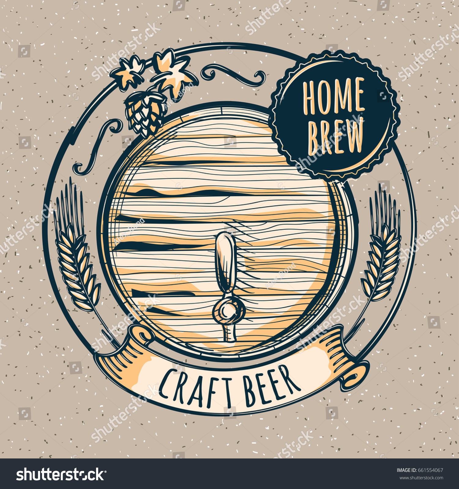 Home brew craft beer emblem stock vector 661554067 for Home brew craft beer