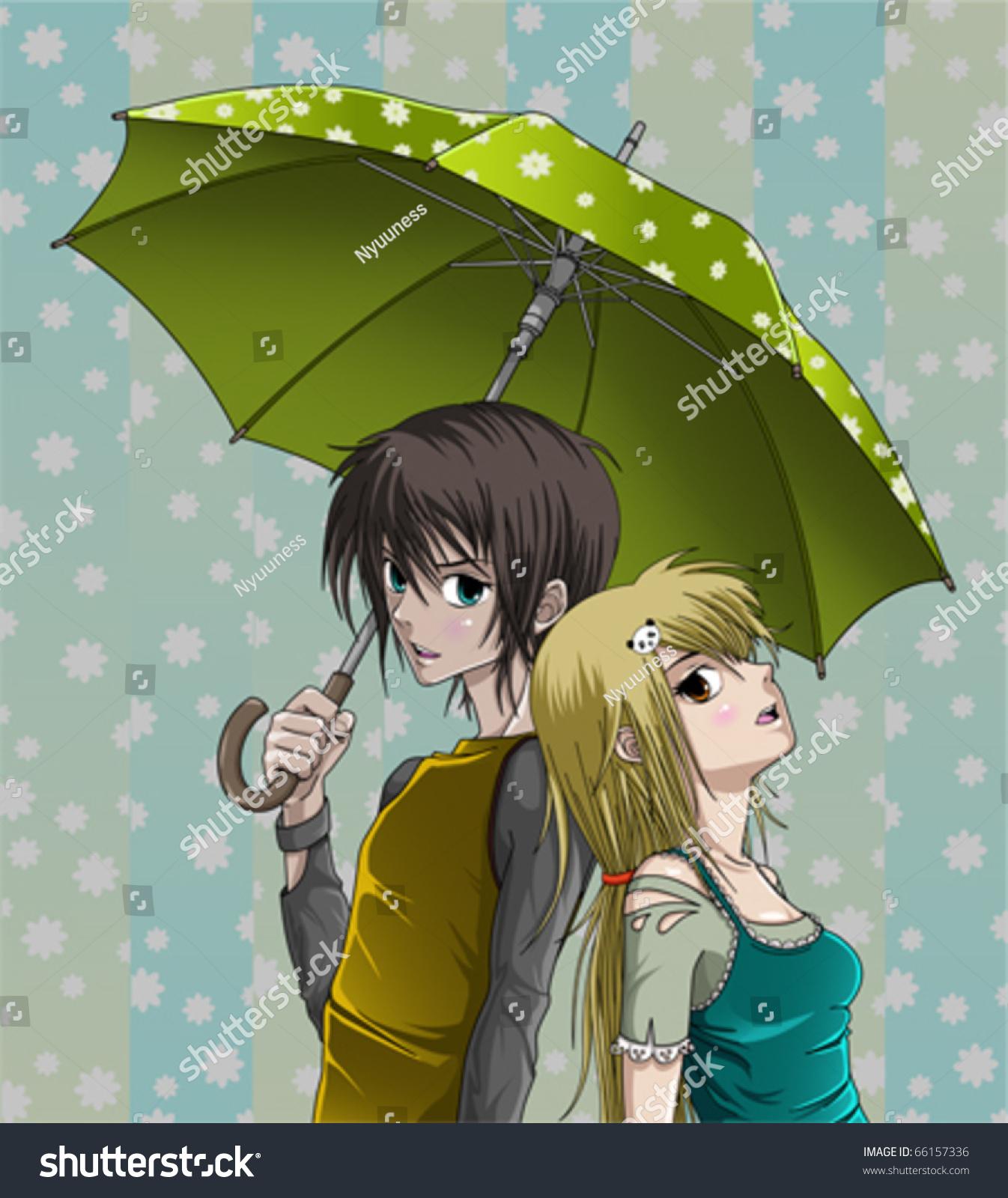cute girl boy umbrella nice background stock photo (photo, vector