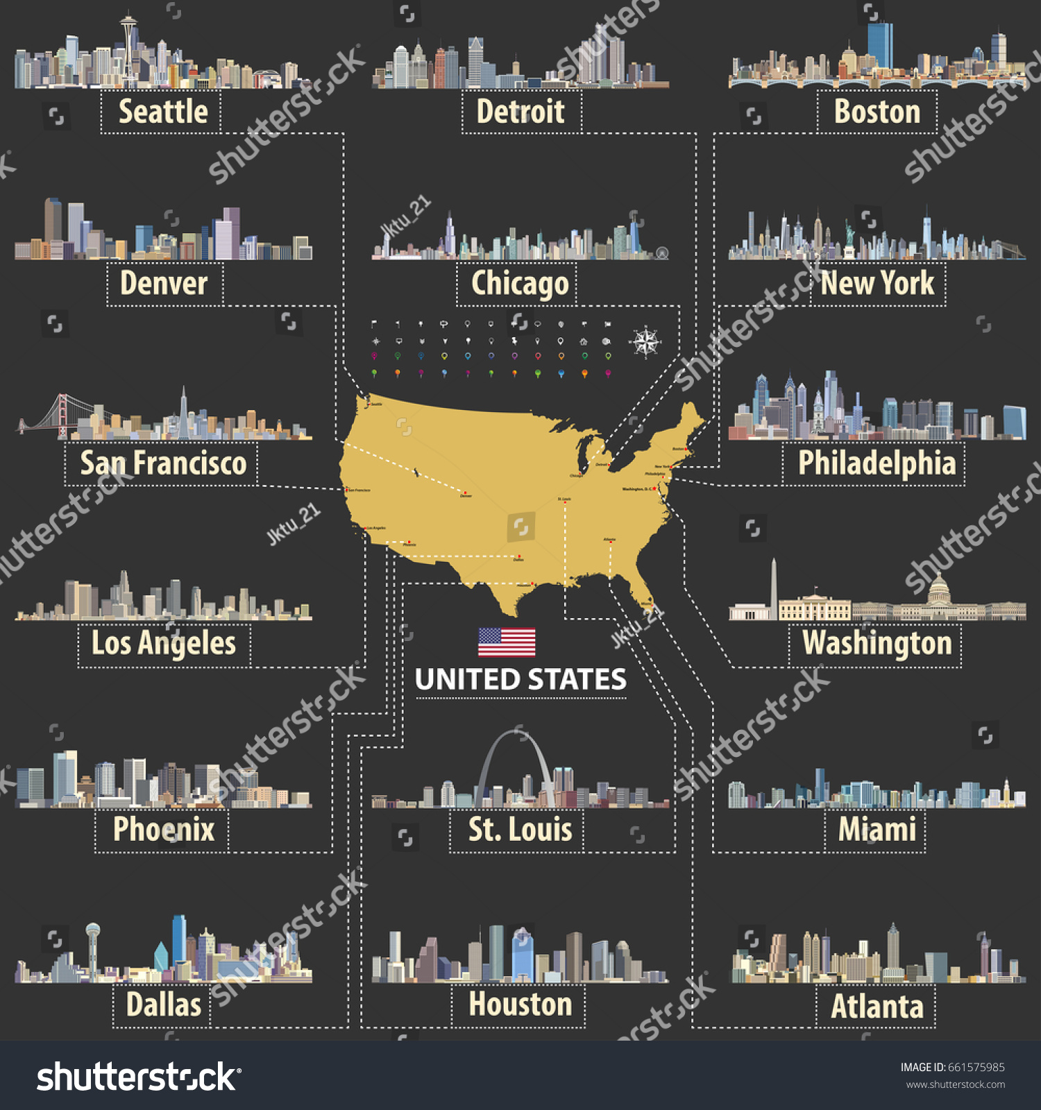 vector map united states america largest stock vector 661575985 shutterstock
