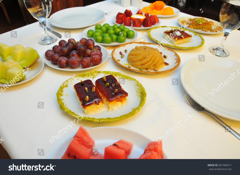 Restaurant Table Fruit Dessert Fruit Plate Stock Photo Edit Now 661584511
